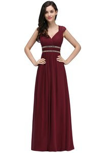 Wholesale New Designer Elegent Long Cap Sleeves A Line Chiffon Evening Dresses Burgundy Plus Size Formal Evening Gowns 2018 Mermaid Prom Dress