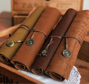 Wholesale Popular Vintage Retro Treasure Map Pencil Cases Luxury Roll Leather PU Pen Bag Pouch For Stationery School Supplies Make Up Cosmetic Bag