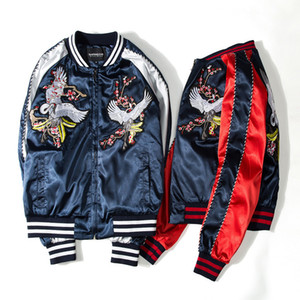 Wholesale Chinese style cranes Printing Designer Bomber Jackets Mens New Satin Fabrics Stand Collar Varsity hip hop coat Jacket baseball uniform