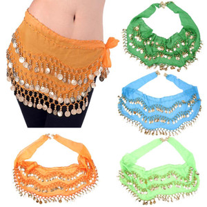 Wholesale 3 Rows Gold Coins Colorful Belly Dance Costume Hip Scarf Skirt Belt Wrap Waist tassel Chain cm dance accessories