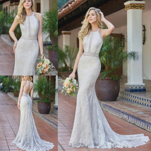 Wholesale 2020 Jasmine Mermaid Wedding Dresses Halter Lace Applique Backless Sleeveless Sweep Train Bridal Gowns Plus Size Beach Robe De Mariée
