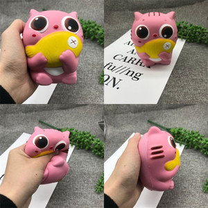 Wholesale Cat Eat Fish Squishy Slow Rebound Rising PU Jumbo Kawaii Squeeze Squishies Simulation Animal Model Child Toy hw V