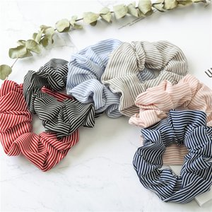 6 color Women Girls Stripe Cloth Elastic Ring Hair Ties Accessories Ponytail Holder Hairbands Rubber Band Scrunchies NC188