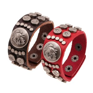 Wholesale Boho Gypsy Hippie Hiphop Dark Red Brown Real Leather Skull Pattern Rivets Charm Wrap Adjustable Unisex Couple Bracelet Bangle