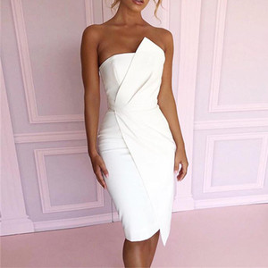 Wholesale Yellow Ruched Summer Off Shoulder Sleeveless Bandage Dress Asymmetric Hem Wrapped Chest Women Club Party Bodycon Dress Vestidos