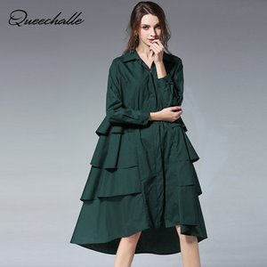Wholesale 3XL XL Plus Size Loose Shirt Dress Ruffles Solid Turn down Collar Long Sleeve A line Shirts for Women Black Red Coffee Green