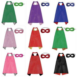 50pcs 2018 new Double side L70*70cm kids Superhero Capes and masks for kids capes with mask on Sale