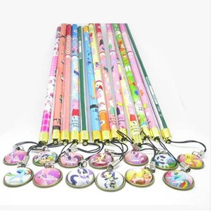 Wholesale Squishy Wood Pencils Set Gem Unicorn Horn Pendant Stationery Girl Pony Fluffy Eraser Flexible Pencil Birthday Gifts Charm Things