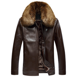 Men's PU leather jacket, winter lapel thick large size warm jacket, men's fur collar plus velvet leather jacket