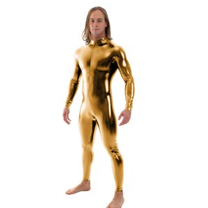 Ensnovo Men Latex Suit Black Shiny Metallic Tights Gold Zentai Suit Full Body Unitard Custom Skin Bodysuit Zipper Front
