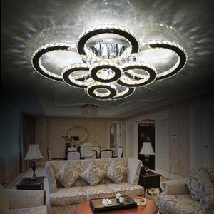 Modern creative LED ceiling lamp living room bedroom ring crystal Chandelier indoor LED shine Dimming Ceiling light fixtures AC110-240V