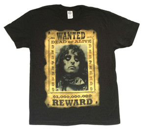 Wholesale Alice Cooper Reward Wanted Dead or Alive Poster Image Black T Shirt New Official T Shirt Men Man s Unique Custom Short Sleeve Big