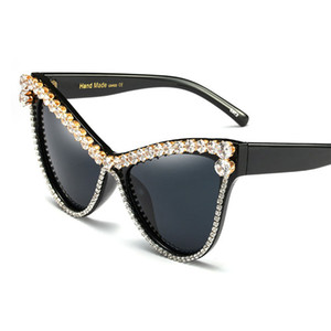 Wholesale oversized Rhinestone sunglasses Sexy Women Designer Luxury Crystal Sun glasses for Female black uv400 a97386