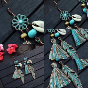 New Vintage Leaf Earrings Pendant Women Gifts Fashion Hollow Carving Alloy Tassel Earrings Europe And America Fashion Jewelry Free DHL G979R