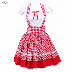 Wholesale Ainclu Womens Girls Short Sleeves Blouse And Red Grid Checked Dress Sweet Lolita Suit Cotton Including Blouse and Sling Dress