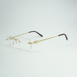 Luxury Rimless  Clear Glasses Frame Men Brand Designer Square Eyeglasses Men's Oval Reading Glasses Oculos Gafas 011