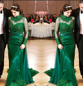 Wholesale Hunter Green Evening Dresses Long Sleeves Lace Beading Sheath Formal Prom Gowns High Collar Mother Of The Bride Dress