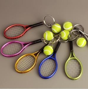 Wholesale Tennis Decoration Sport Business Mini SilverGift resin Holder Ring Pink Keychain