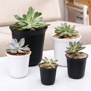 Wholesale Round Thickening Grind Flowerpot Minimalism Desktop Decor Plastic Flowerpots For Green Plant Durable Breathable Succulent Pots qx4 jj