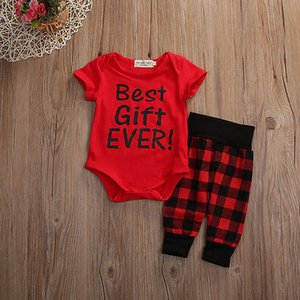 Wholesale baby clothing gift sets resale online - 2017 Outfit Summer Suit Newborn Baby Boy Girl Clothes Set Best Gift Ever Short Sleeve Cotton Romper Red Plaid Pant