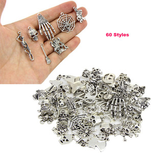 New Mix 60 Style Antique Silver Animal Skull Pendant Loose Beads Charm For Halloween DIY Jewelry For European Bracelet Necklace Accessories