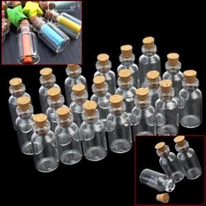 Wholesale 20pcs Mini Clear Transparent Wishing Bottle Container Empty Glass Bottles ml Vials Jars with Cork Small Tiny Corked Messages