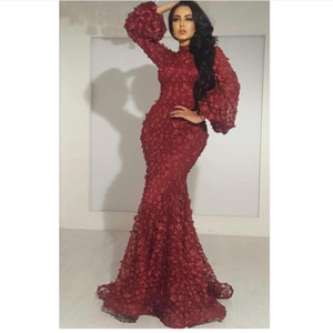 Wholesale neck soiree dresses for sale - Group buy Burgundy Evening Dresses Long Sleeve High Neck Mermaid Elegant Evening Gown Robe De Soiree