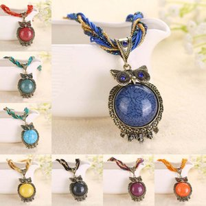 Wholesale 15 Style Bohemia Owl Gem Copper Crystal Glass Beads Cord Choker Necklaces Pendants Necklace For Women D786S