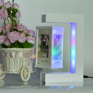 Wholesale E Shape Magnetic Levitation White Floating Photo Frame with Colorful LED Lights for Girl Friend Birthday Gifts Home Decoration