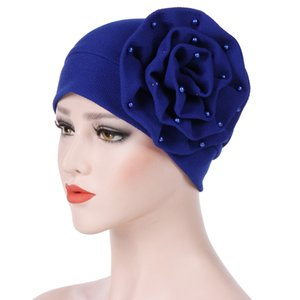 Wholesale Muslim Women Bead Cotton Flower Stretch Turban Hat Cancer Bandanas Cancer Chemo Beanies Caps Headwear Headwrap Hair Accessories