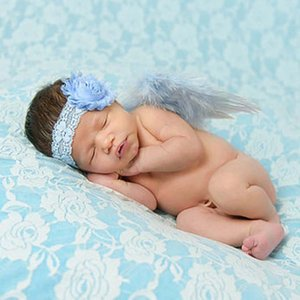 Wholesale baby Kids Hairband Lace and angel wings Blue color Children Headband Party Gifts Cute Flower Shape
