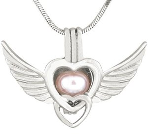Wholesale New Antique Silver Angel Wings Love Heart Pendant Necklaces for Women Pearl Locket Charms Cage Pendant Styles CP036