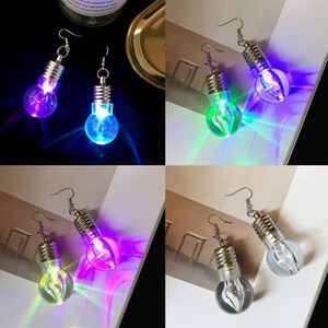 Wholesale TelePresence Men s unique tide women s funny night store jumping seven color light bulb earrings