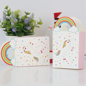 Wholesale Unicorn Gift Bags Paper Unicornio Candy Box Wrap Wedding Festival Birthday Portable Rainbow Cartoon Hot Sale zj VV