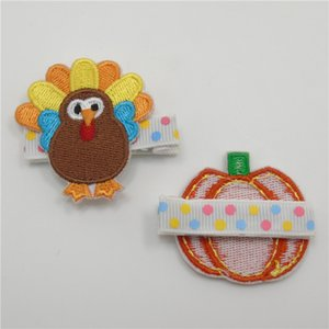 Wholesale accessories turkey for sale - Group buy Felt Thanksgiving Turkey Hair Clips No Slip Embroidery Harvest Fall Pumpkin Hairpin Kid Polka Dot Girls Barrettes
