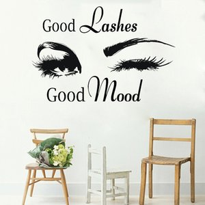 Wholesale Good Lashes Beauty Salon Quote Wall Stickers Decal Eye Eyelashes Art Girl Room Decals Decor Modern Beauty Shop Vinyl Mural LC358
