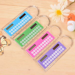 Wholesale Mini Portable Solar Energy Calculator Creative Multifunction Ruler Students Gift Free DHL Shipping 3 2 0