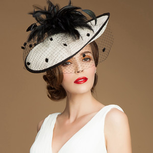 Wholesale Vintage Lady Black and Ivory Hat Perfect Birdcage Headpiece Head Veil Feather Wedding Bridal Accessories Party Women Bride Fascinator Hat