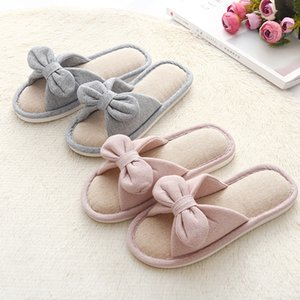 New brand Summer Flax Household bowknot Slippers Wooden Floor Antiskid Soft Bottom Indoor kid Slippers no 452 on Sale
