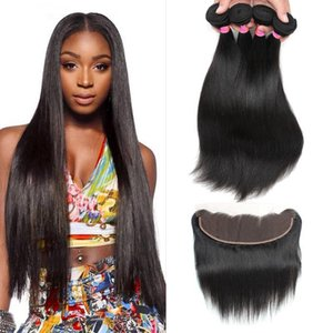 Wholesale Ear to Ear Lace Frontal Closure with Bundles Brazilian Virgin Silky Straight 13x4 Frontal With Bundles Deals Remy Human Hair Weave 5pcs lot