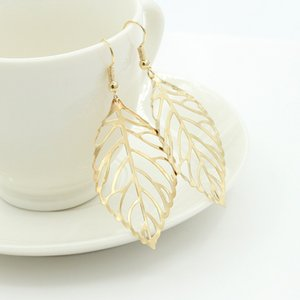 Korean fashion earring Hot Fashion Wholesale Jewelry Hollow Metal Leaves Dangling Long Statement Drop Earrings For Women Bijoux