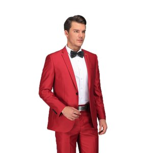 Wholesale Red Suit Latest Coat Pant Designs Formal Wear Suits Set With Pants Stylish Male Slim Fit Red Costume Prom Wedding Dress