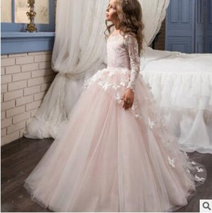 Wholesale Lovely New Arrival Lace Flower Girl s Dresses Long Illusion Sleeves Jewel Neck Ball Gown Handmade Butterflies Girl s Pageant Dresses