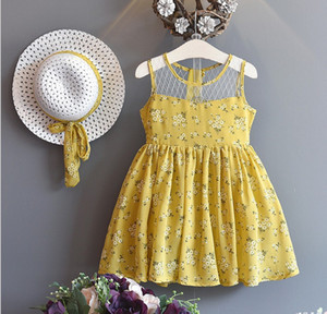 Wholesale Baby girls summer new Korean version Lace Flower Embroidered cake dress with hat girl s floral summer skirts kids boutiques clothes