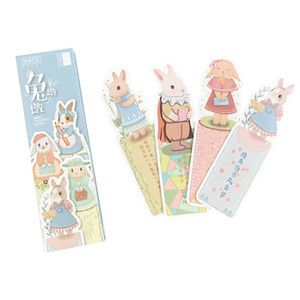 Wholesale 8pack Creative Lovely rabbit paper bookmark book holder Message Card DIY school supply Party Invitation