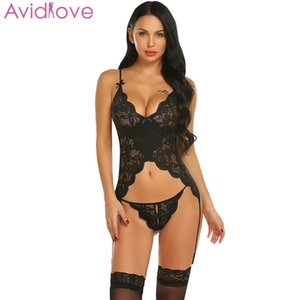 657198d0d Wholesale Avidlove Women Sexy Costumes Sets Sexy Lace Lingerie Chemise with  Garters Nightwear lenceria femenina