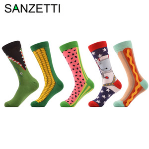 Wholesale- SANZETTI 5 pair lot Men's Combed Cotton Socks Funny Pattern Corn Space Man Hot Dog Watermelon Novelty Socks Casual Crew Socks