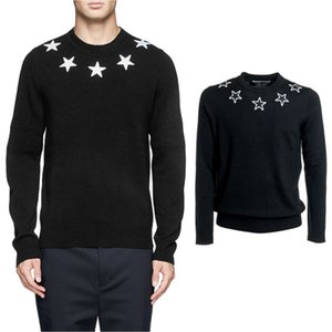 Wholesale Stars Applique Black Sweater For Men s Winter Knit Pullover Wool Cotton Jumper Male