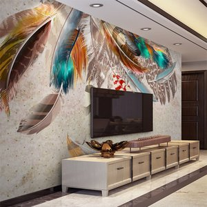 Wholesale Fashion Colorful Feather D Mural Wallpaper Modern Abstract Art Living Room Restaurant Background Wall Paper Creative Home Decor