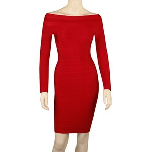 Wholesale Long Sleeves Bandage Dresses 2018 Boat Neck Women Bodycon Dresses Knee Length Evening Party Dresses Black Red
